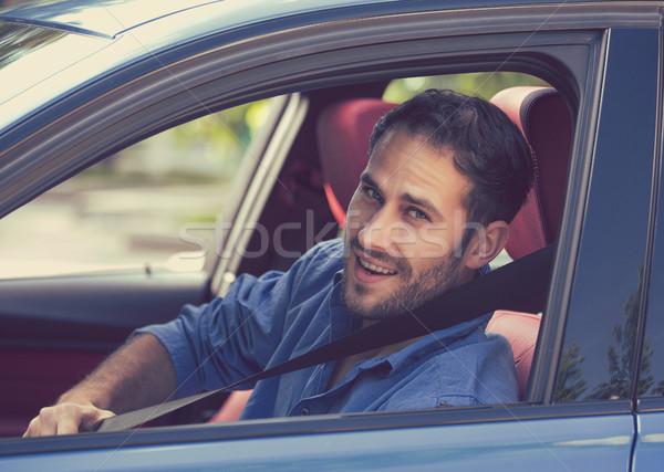 男 ドライバ 座席 ベルト 肖像 笑顔 ストックフォト © ichiosea