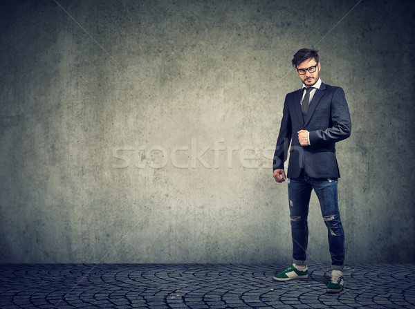 Stylish modern man in denim and jacket Stock photo © ichiosea