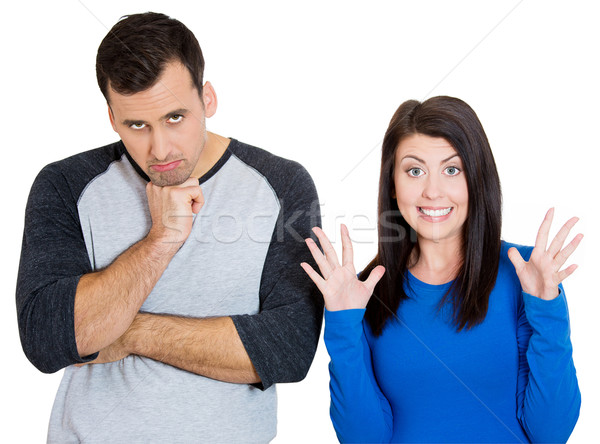 excited woman depressed man Stock photo © ichiosea