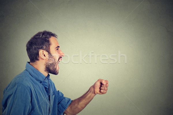 ngry young man screaming with fist up in air Stock photo © ichiosea