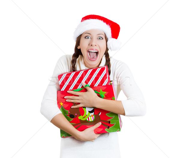 Gelukkig christmas vrouw geschenk zak Stockfoto © ichiosea