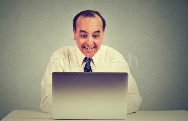 Portrait of a happy middle aged man working on a laptop in his office  Stock photo © ichiosea