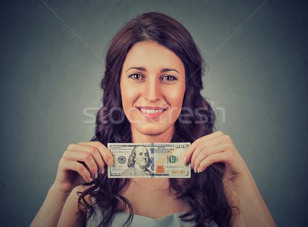 Fericit tineri femeie de afaceri bani una Imagine de stoc © ichiosea