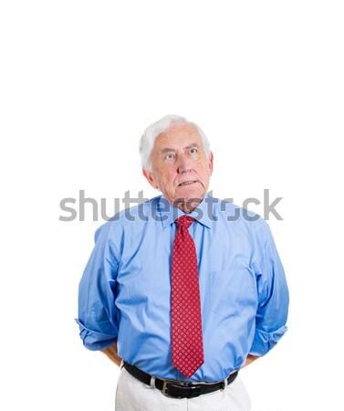 Oude man denken portret senior ouderen Stockfoto © ichiosea
