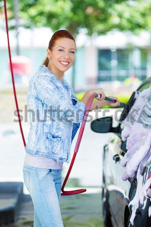 Woman at gas station, filling up her car Stock photo © ichiosea