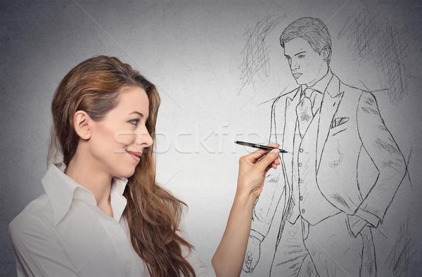 Nő stylist rajz rajz férfi modell arc Stock fotó © ichiosea