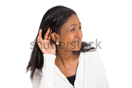 unhappy hard of hearing woman placing hand on ear Stock photo © ichiosea