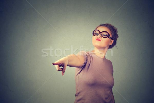 Böse Hinweis Finger Kamera negative Stock foto © ichiosea