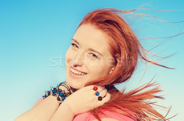 Woman smiling celebrating enjoying freedom. Peace of mind concept.  Stock photo © ichiosea