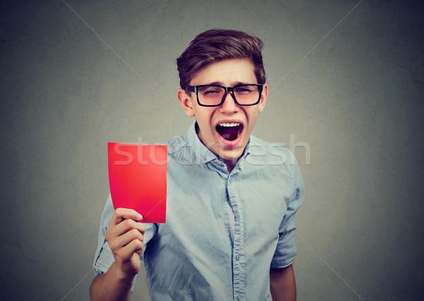 Fiatal döntőbíró mutat piros kártya sikít Stock fotó © ichiosea