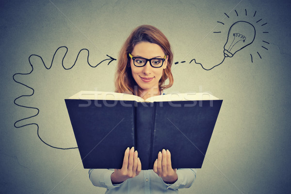 Woman in glasses reading big book comes up with an idea  Stock photo © ichiosea