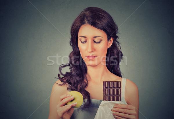Karışık bakıyor kadın çikolata elma Stok fotoğraf © ichiosea