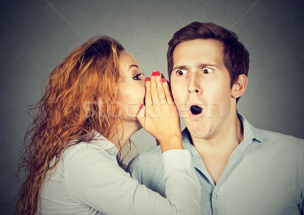 amazed shocked man listening gossip in the ear  Stock photo © ichiosea