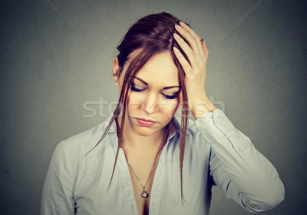 Triste desesperado mulher preocupado cara Foto stock © ichiosea