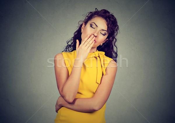 Soñoliento mujer amplio abierto boca Foto stock © ichiosea