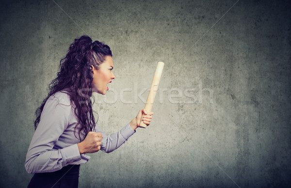 Angry woman with rolling pin screaming  Stock photo © ichiosea