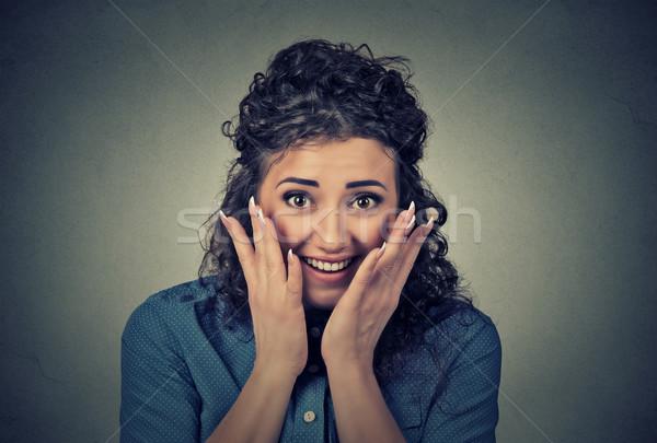 Portret gelukkig jonge verwonderd vrouw Stockfoto © ichiosea