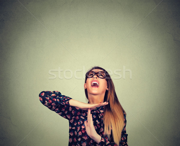 Nő mutat idő ki kézmozdulat csalódott Stock fotó © ichiosea