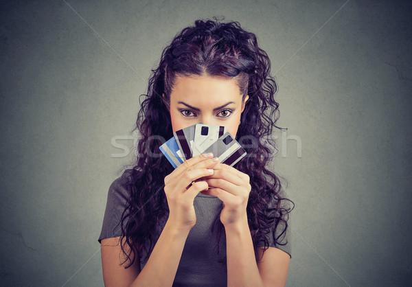 Meisje weinig creditcards jonge geslaagd brunette Stockfoto © ichiosea