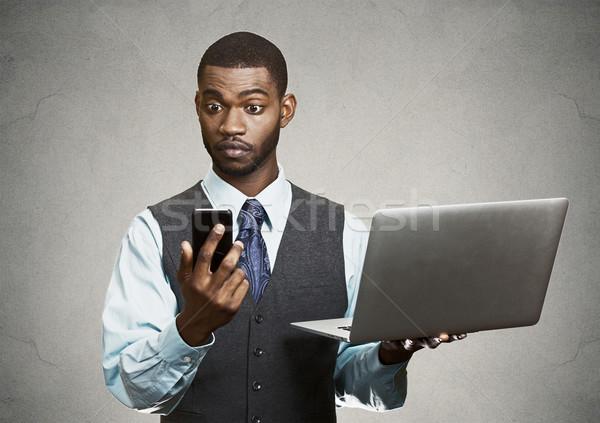 Imprenditore multitasking primo piano ritratto scioccato sorpreso Foto d'archivio © ichiosea