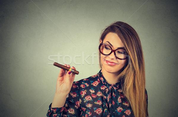 Belle jeune femme cigare isolé gris mur Photo stock © ichiosea
