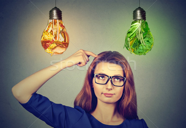 Woman thinking looking up at junk food and green vegetables light bulbs Stock photo © ichiosea