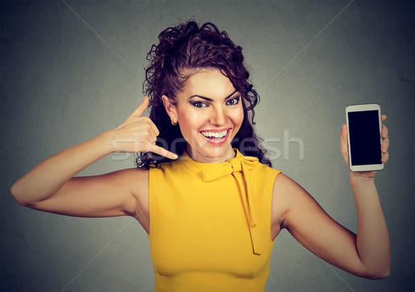 женщину мобильного телефона знак Сток-фото © ichiosea