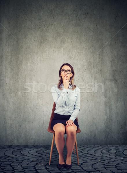 Ernst business woman Denken leer Büro nachdenklich Stock foto © ichiosea