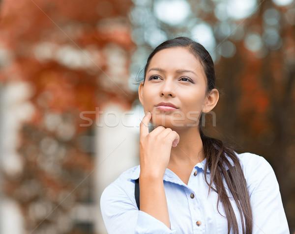 Fiatal üzletasszony álmodozás gondolkodik közelkép portré Stock fotó © ichiosea
