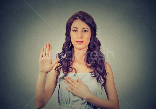 Belofte meisje gelukkig lichaam portret jonge Stockfoto © ichiosea