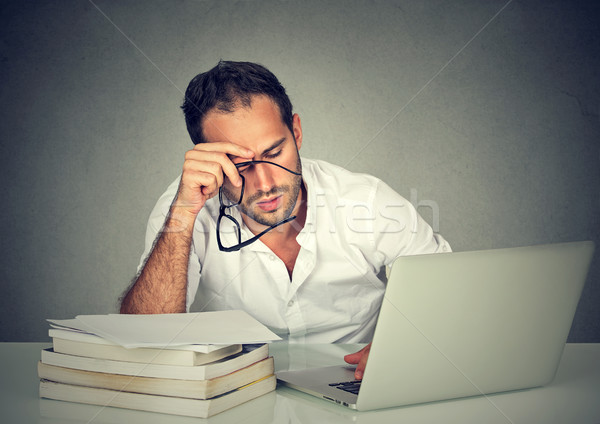 Too much work tired sleepy man sitting at desk  Stock photo © ichiosea