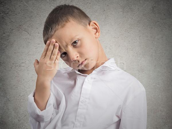 Triest jongen hoofdpijn jonge man lijden Stockfoto © ichiosea