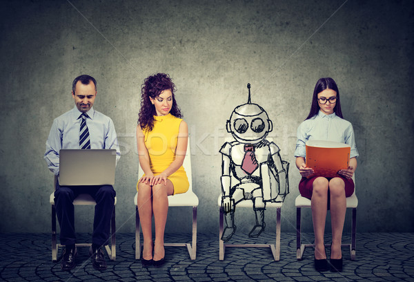 Cartoon robot sitting in line with human applicants for a job interview  Stock photo © ichiosea
