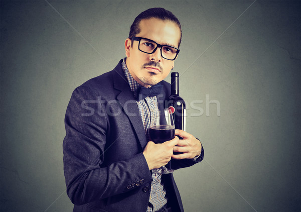 Man unwilling to share with wine Stock photo © ichiosea