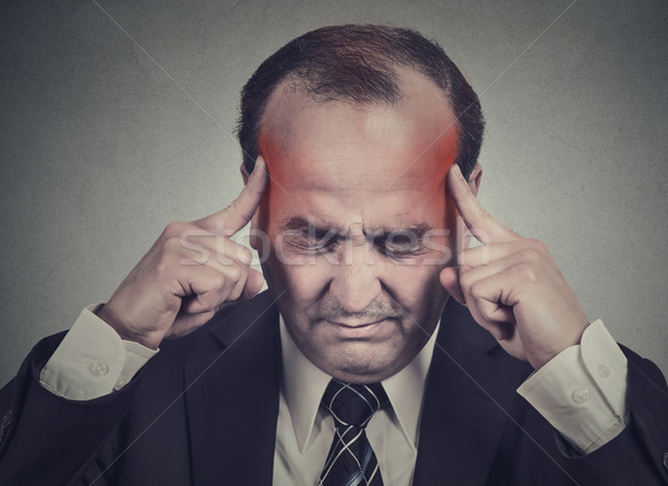 sad man with worried stressed face expression thinking having headache  Stock photo © ichiosea