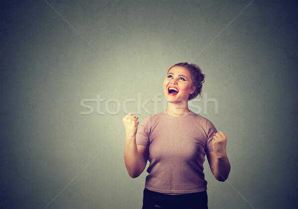 Heureux réussi étudiant femme gagner célébrer Photo stock © ichiosea