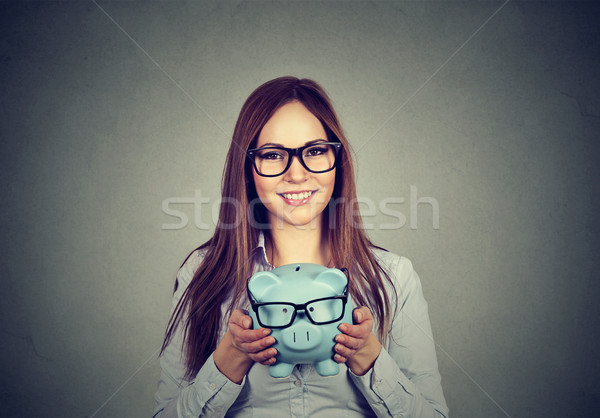 Kadın Heyecanlı Tasarruf Satın Alma Gözlük Mutlu Stok