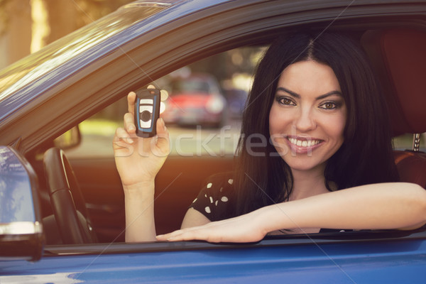 Smiling woman sitting in her new blue car showing keys  Stock photo © ichiosea