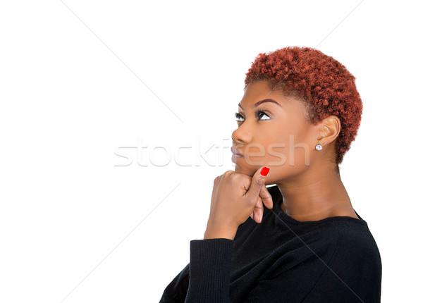 Nő profil gondolkodik közelkép oldalnézet portré Stock fotó © ichiosea