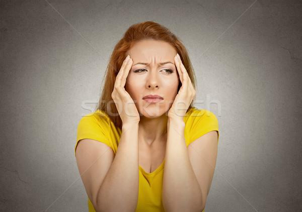 Nő szenvedés fejfájás fiatal nő kezek fej Stock fotó © ichiosea