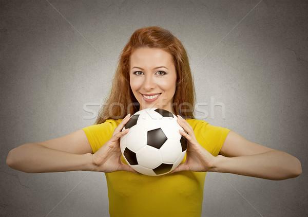 Сток-фото: счастливым · футбола · девушки · желтый · футболки · портрет