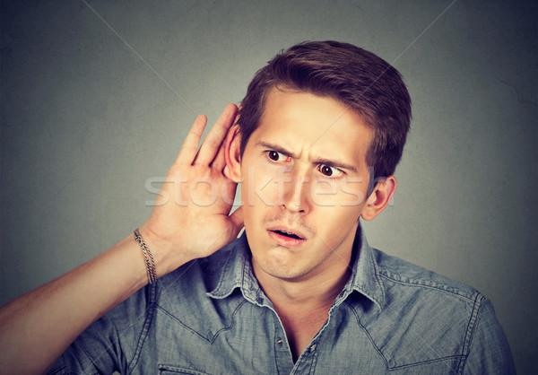Meraklı adam dinleme konuşma haber Stok fotoğraf © ichiosea