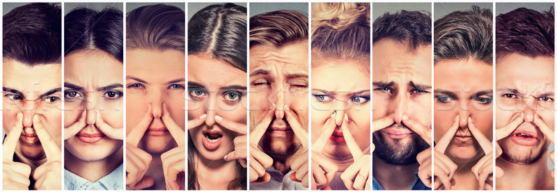 Group of people pinching nose with fingers something stinks bad smell Stock photo © ichiosea