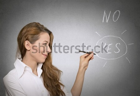 woman looking up pointing with finger at blank copy space  Stock photo © ichiosea