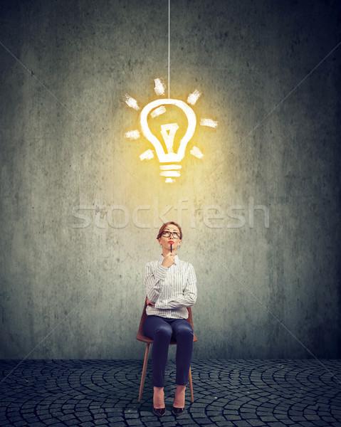 スマート 女性実業家 電球 頭 スタイリッシュ ストックフォト © ichiosea