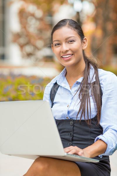 Business woman arbeiten Computer Freien Porträt jungen Stock foto © ichiosea