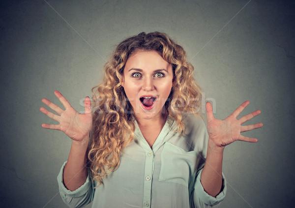 Closeup surprised astonished woman amazed  Stock photo © ichiosea