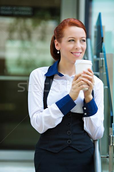 Happy lawyer drinking coffee Stock photo © ichiosea