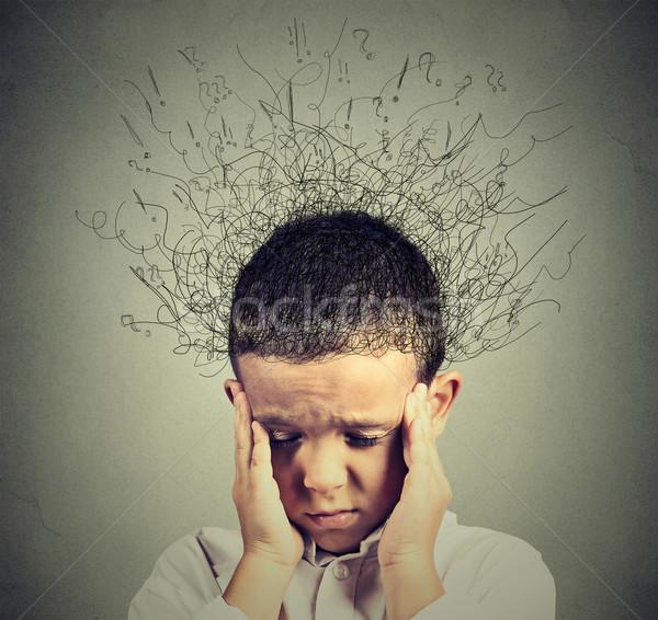 Triest jongen bezorgd gezicht naar beneden te kijken Stockfoto © ichiosea