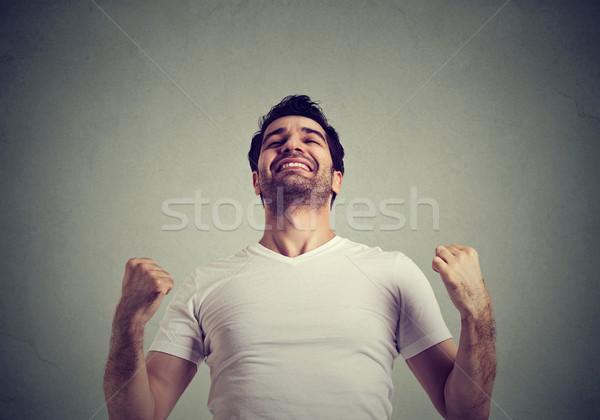 Boldog sikeres férfi nyerő ünnepel siker Stock fotó © ichiosea
